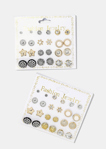 12-Pair Variety Stud Earrings Set