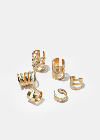 6-Piece Multi Design Ear Cuff Set