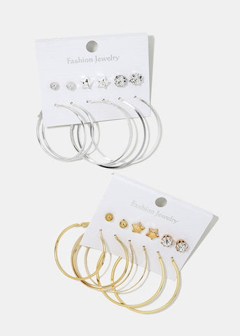 6-Pair Star Stud & Hoop Set
