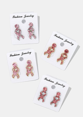 2-Pair Gemstone Pink Ribbon Earrings
