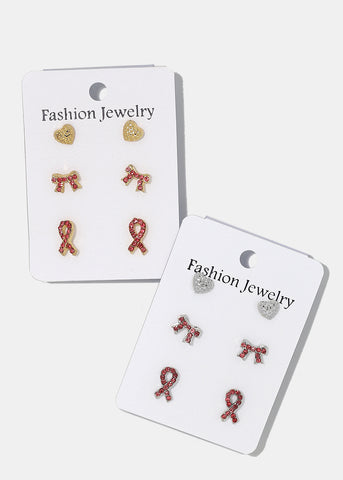3-Pair Pink Ribbon Mix Stud Set
