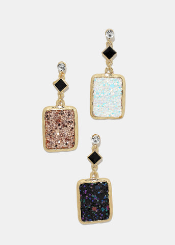 Glitter Rectangle Dangle Earrings