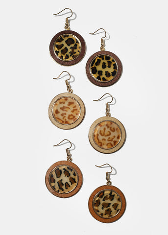 Round Wood Animal Print Earrings