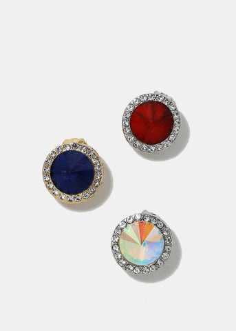 Round Gemstone Clip-On Earrings