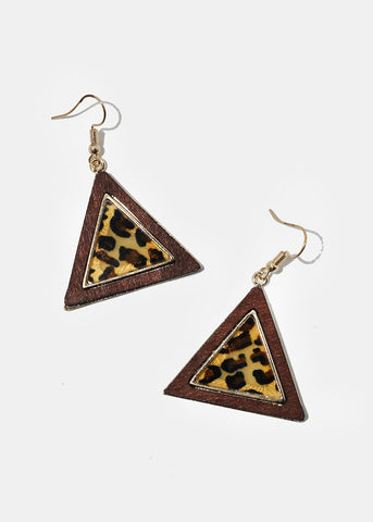 Wood Animal Print Triangle Earrings
