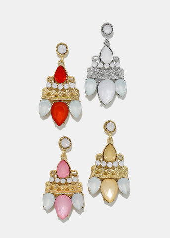 Gemstone Statement Drop Earrings