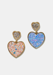 Glitter Heart Dangle Earrings
