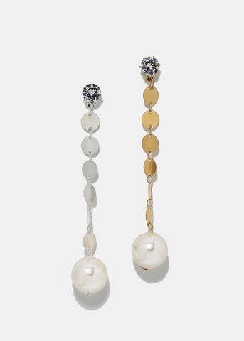 Pearl Disc Chain Drop Earrings