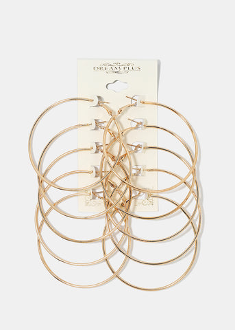 5-Pair Large Gold Hoop Set