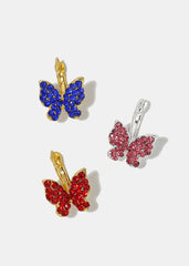 Rhinestone Butterfly Clip-On Earrings