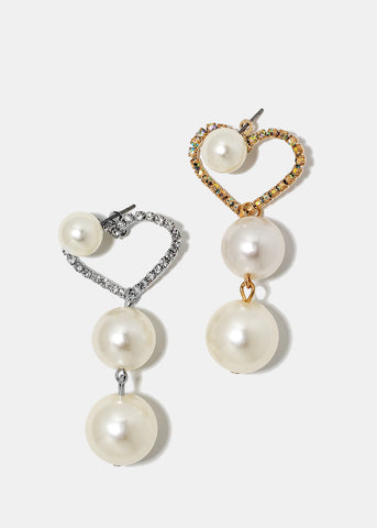 Heart & Pearl Dangle Earrings