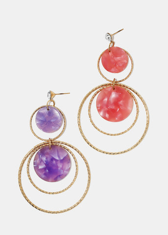 Layered Hoop & Resin Disc Earrings