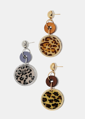 Animal Print Disc Dangle Earrings