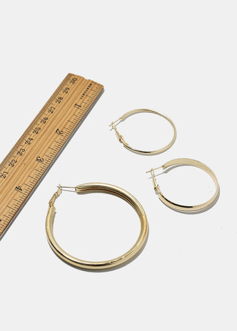 4-Pair Hoop Earring Set