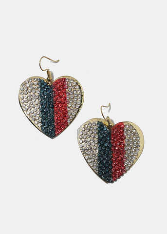 Rhinestone Stripe Heart Earrings