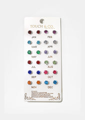 12-Pair Birthstone Stud Set