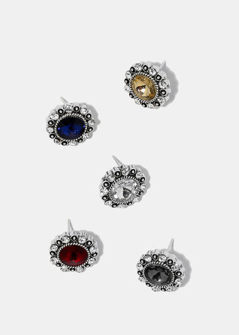 Round Silver Gemstone Stud Earrings
