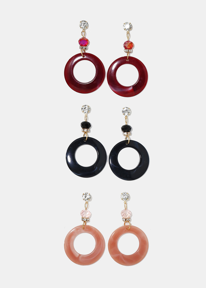 Enamel Ring Dangle Earrings