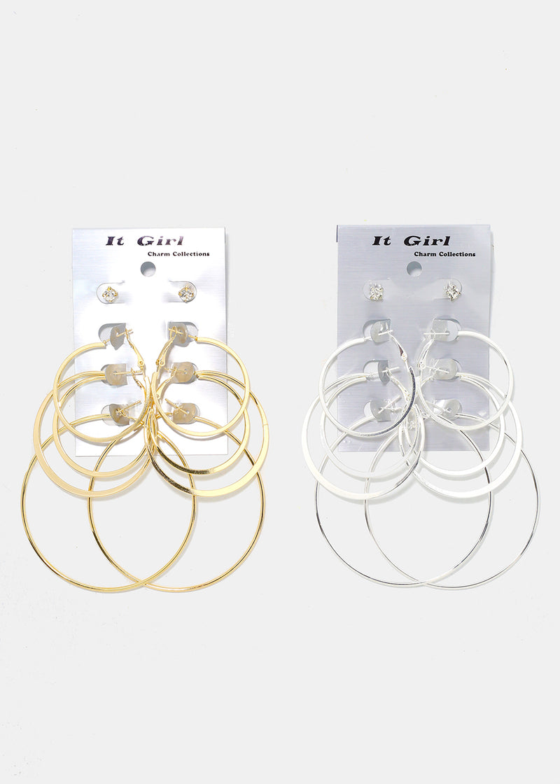 4-Pair Hoop & Stud Earrings