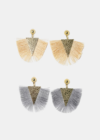 Textured Triangle Fringe Earrings