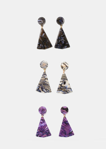 Marbled Triangle Earrings