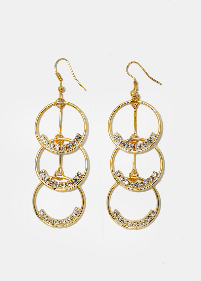 Metal Ring & Rhinestone Drop Earrings