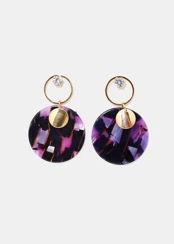 Marbled Resin Disc Earrings