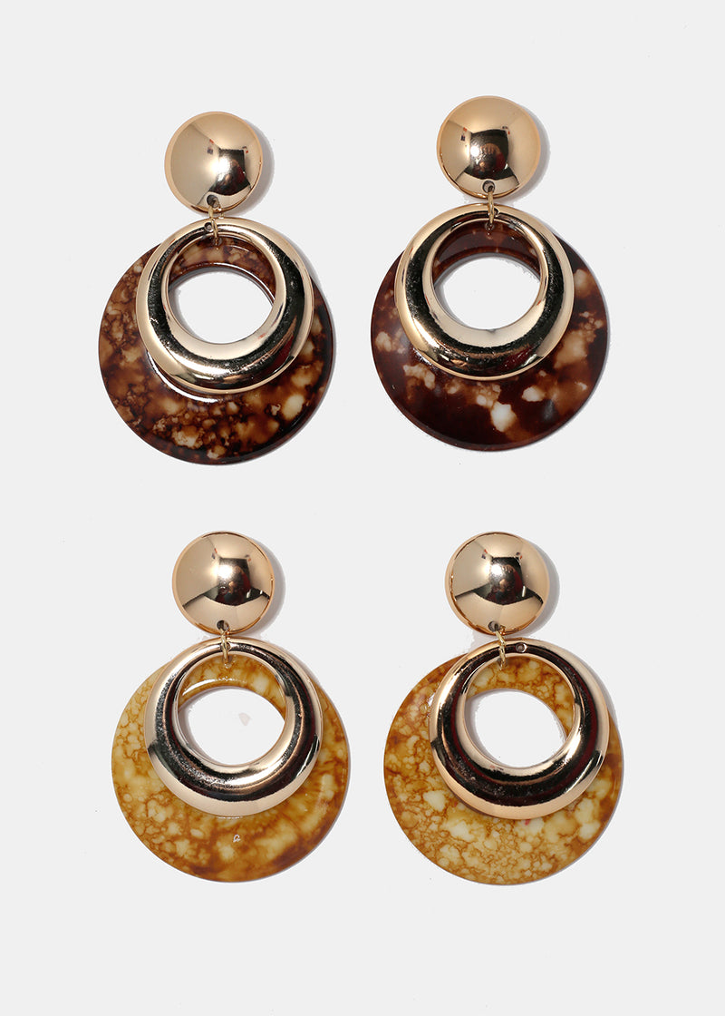 Gold Metal & Enamel Circle Earrings