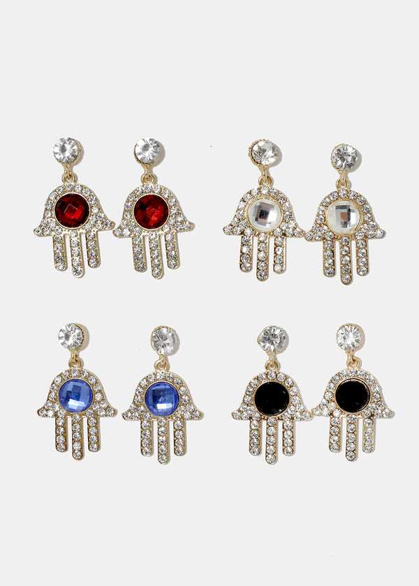 Hamsa Hand Gem Earrings