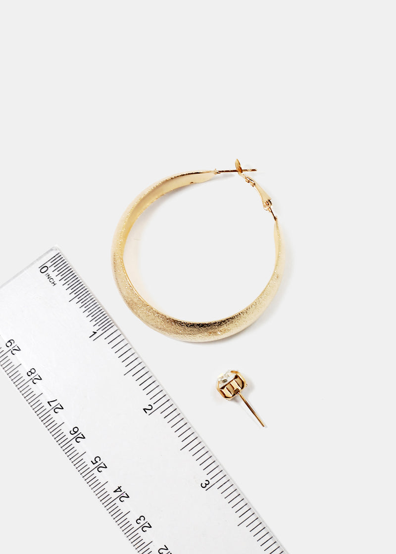 Textured Metal Hoop & Gemstone Stud Set