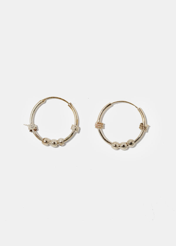 Metal Ball Hoop Earrings