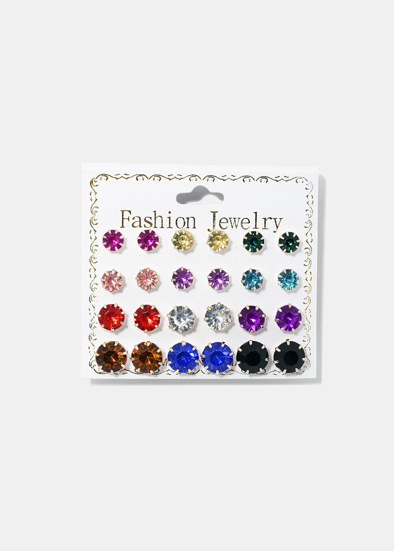12-Pair Multi Gemstone Studs