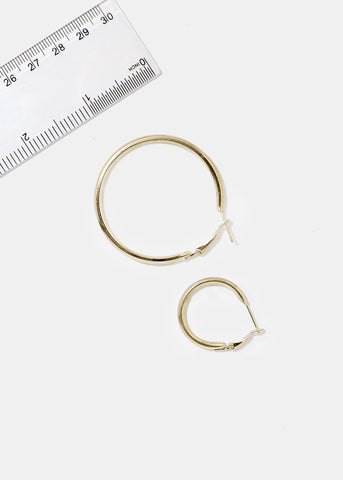 6-Pair Gold Rounded Hoops
