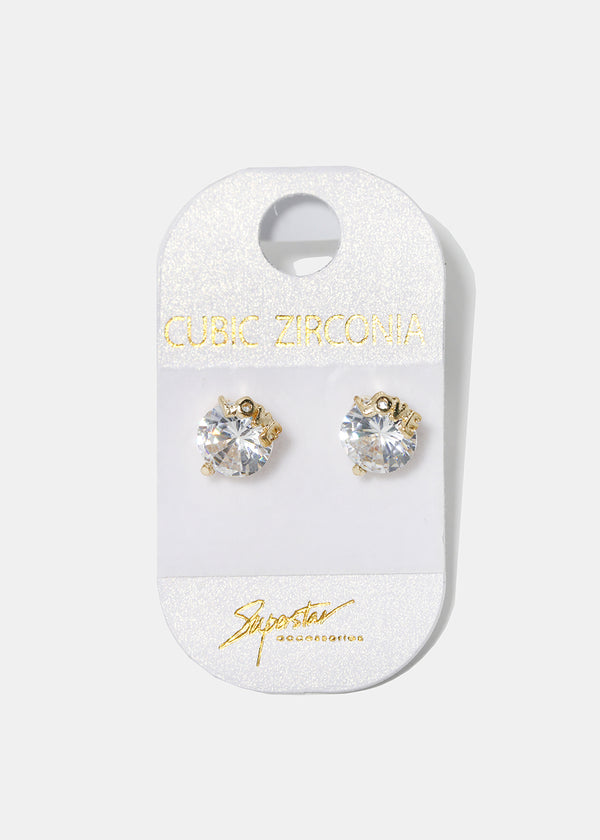 LOVE Clear Gemstone Studs