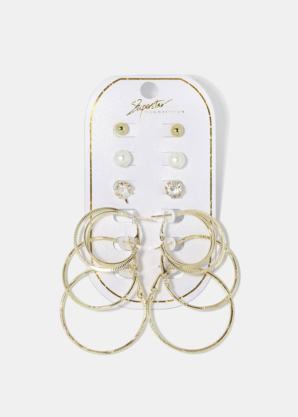6-Pair Multi Stud & Hoop Set