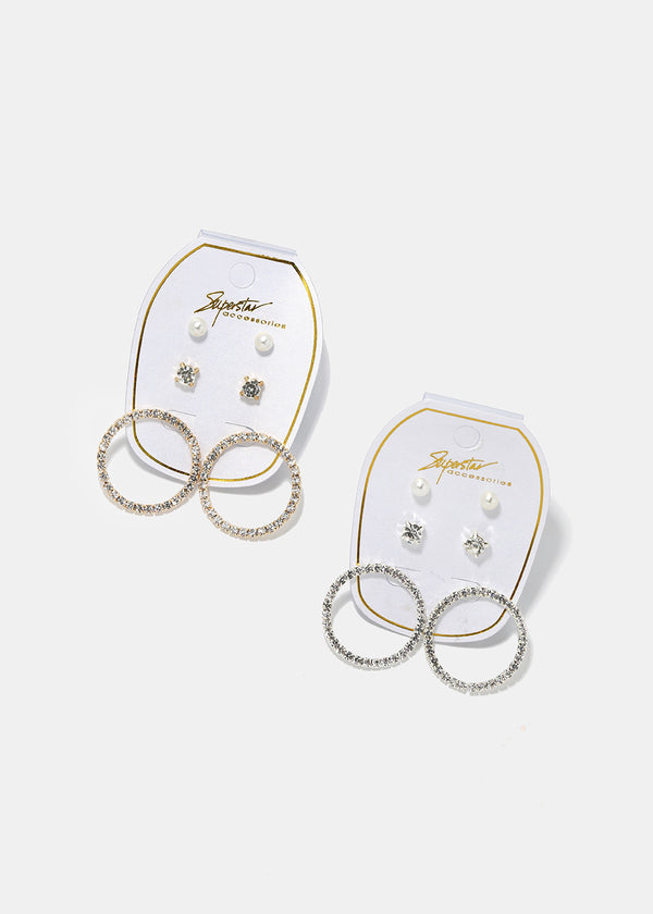 3-Pair Rhinestone Ring Earrings Set