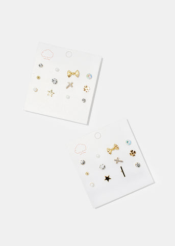 6-Pair Triangle & Bow Studs Set