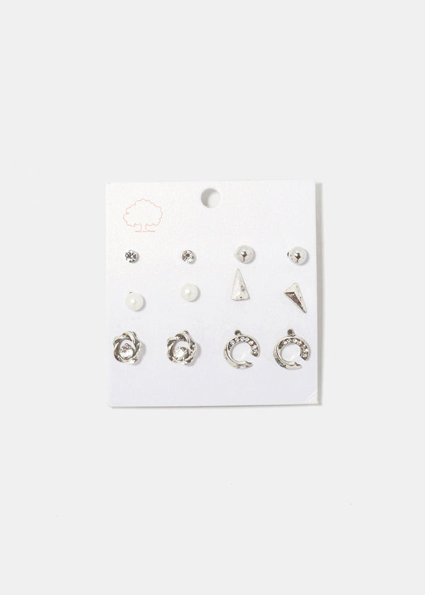 6-Pair Flower & Spike Stud Earrings