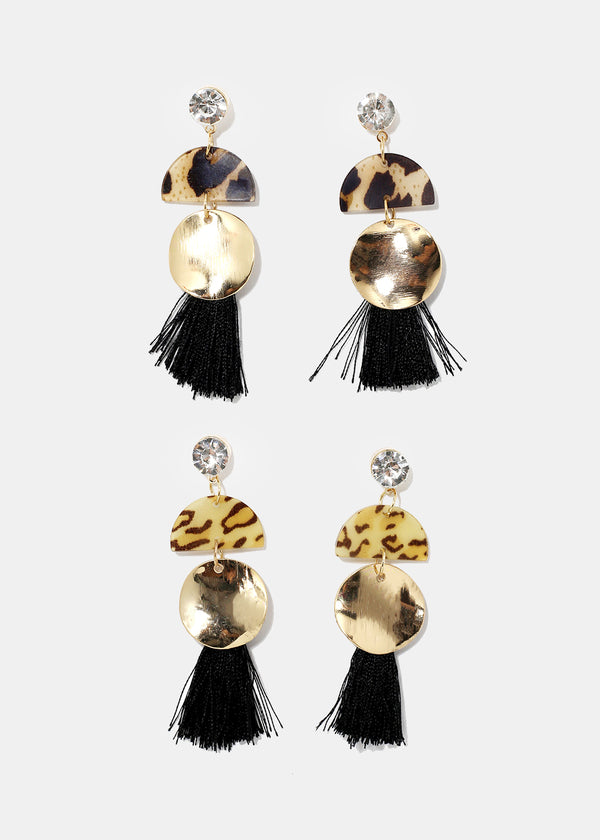 Disc & Tassel Drop Earrings