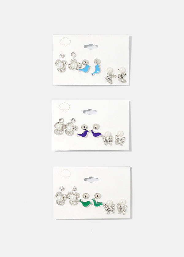 6-Pair Bird & Flower Stud Set
