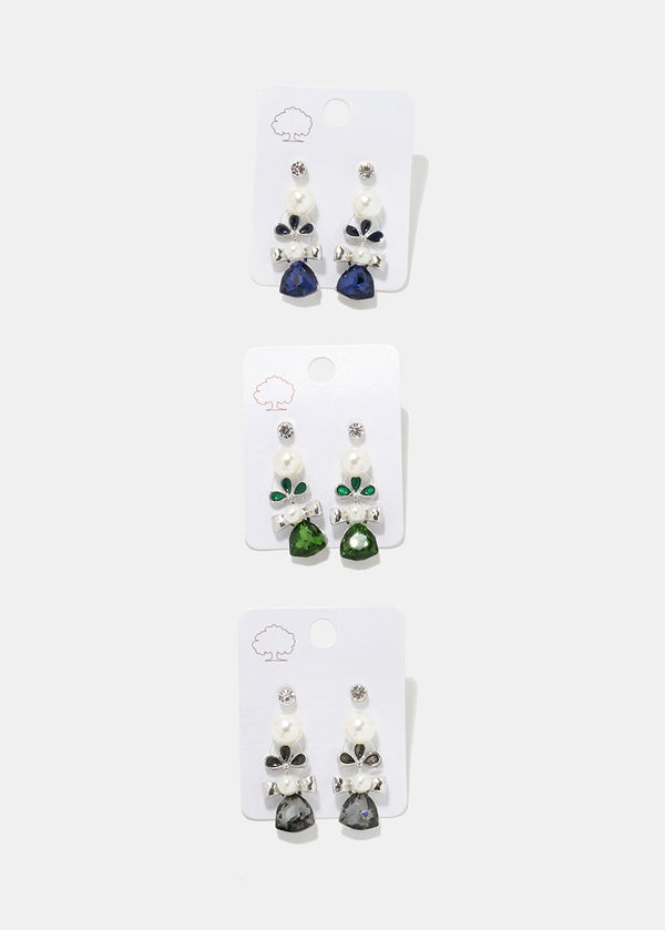 3-Pair Gem Cluster Dangle Earrings