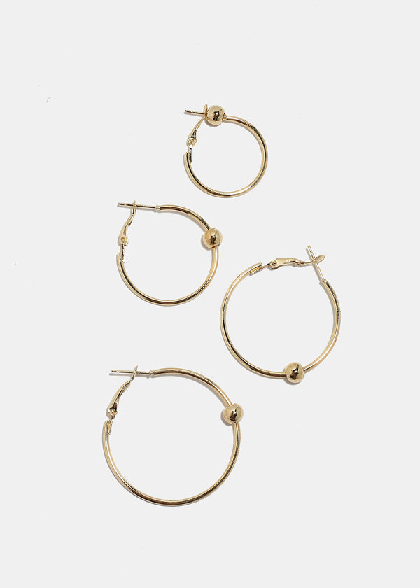 6-Pair Metal Ball Hoop Earrings