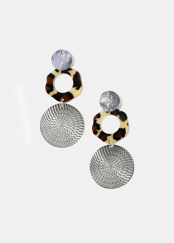 Textured Disc & Leopard Earrings