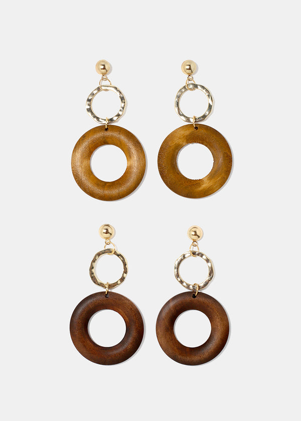 Wooden Ring Earrings