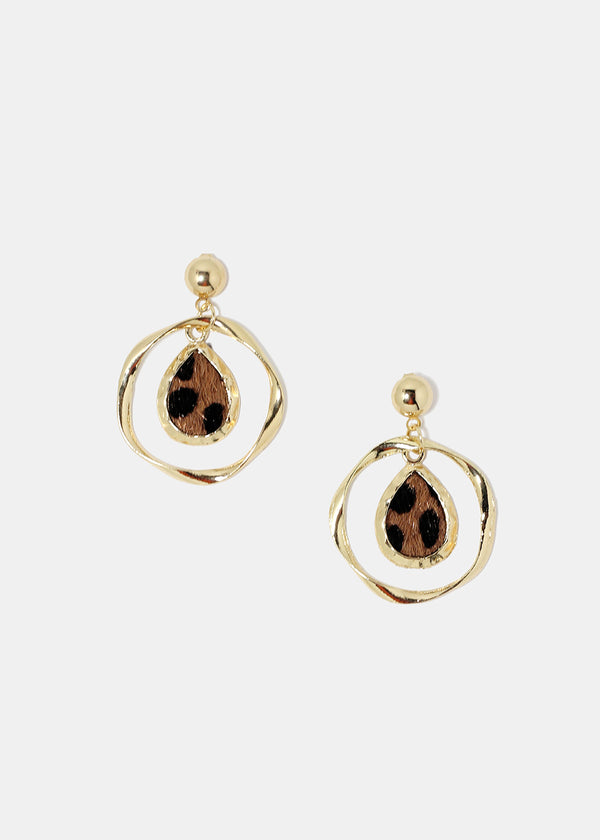 Spotted Teardrop Hoop Earrings