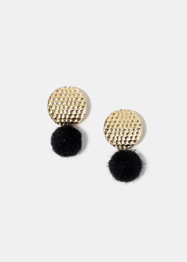 Hammered Metal & Pom-Pom Earrings