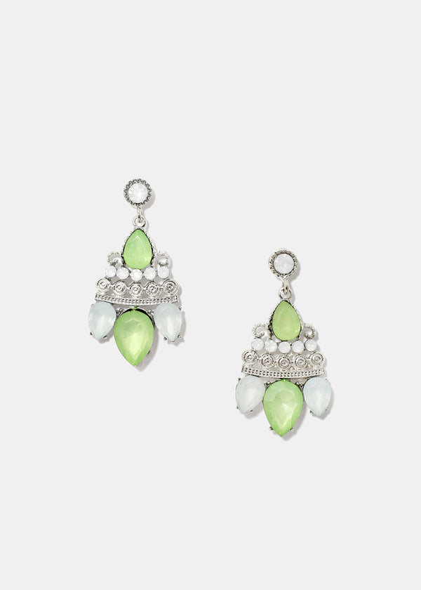 Gemstone Cluster Dangle Earrings