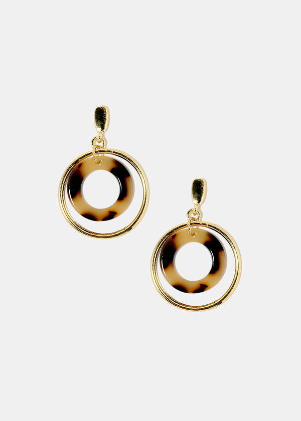 Enamel & Gold Metal Hoop Earrings