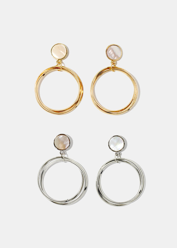 Enamel Post Hoop Earrings