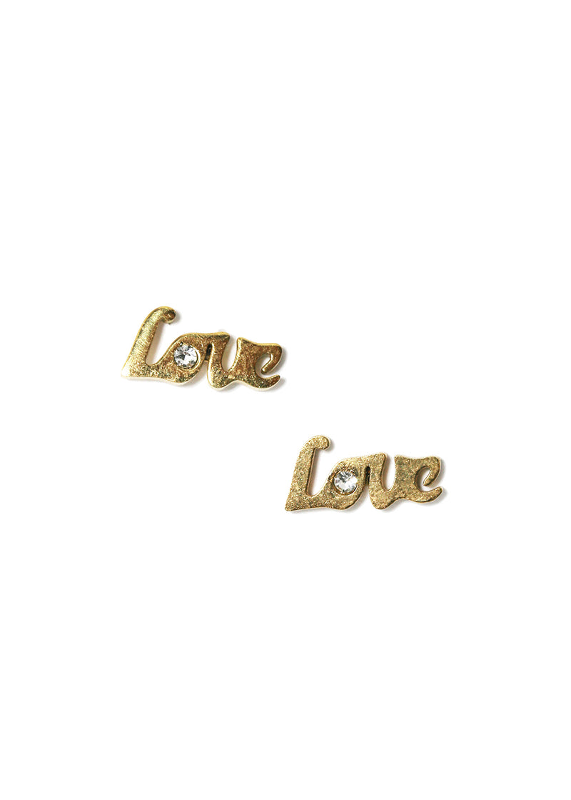 "Metal ""Love"" Stud Earrings"